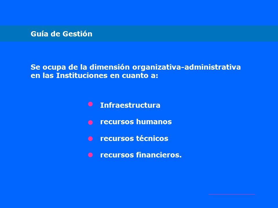 Guía de Gestión Se ocupa de la dimensión organizativa-administrativa en las Instituciones en cuanto a: Infraestructura recursos humanos recursos técni