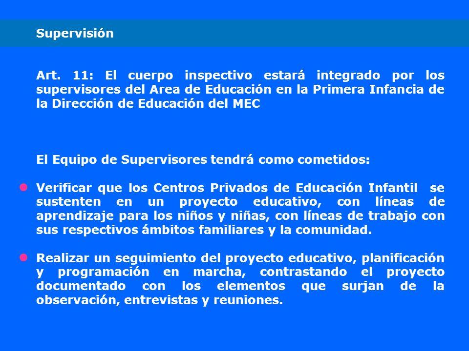 Supervisión Art. 11: El cuerpo inspectivo estará integrado por los supervisores del Area de Educación en la Primera Infancia de la Dirección de Educac
