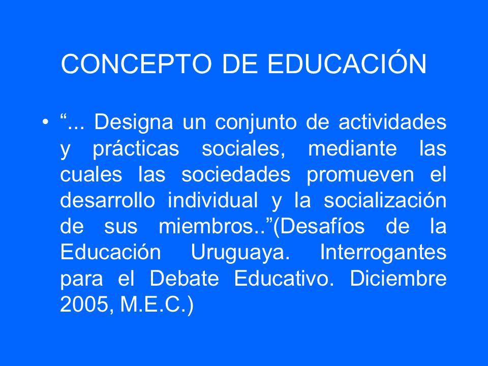 CONCEPTO DE EDUCACIÓN... Designa un conjunto de actividades y prácticas sociales, mediante las cuales las sociedades promueven el desarrollo individua
