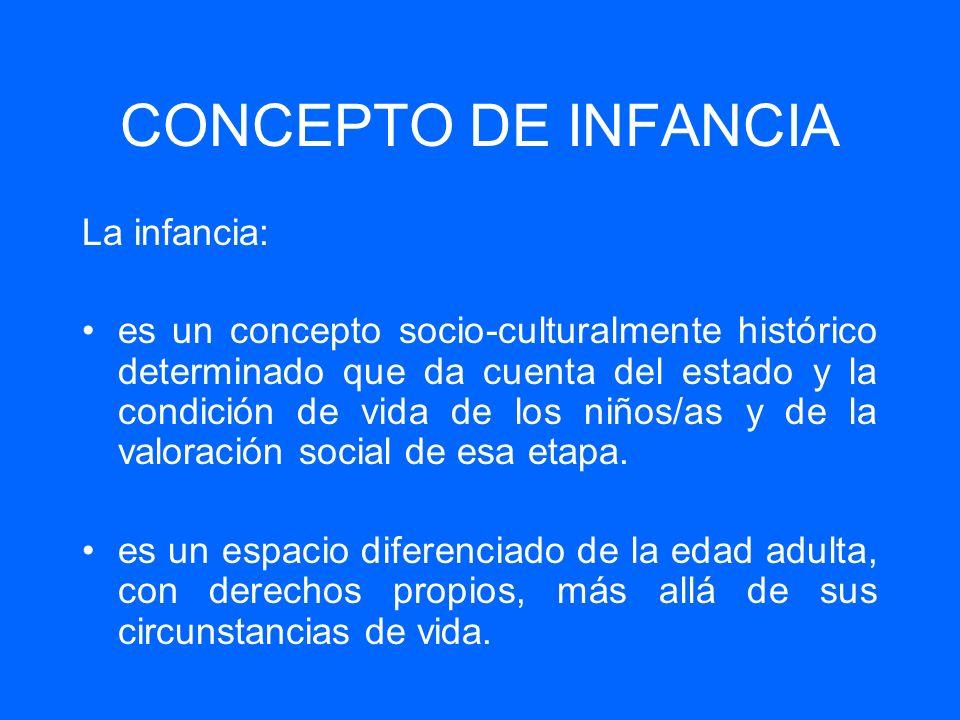 CONCEPTO DE INFANCIA La infancia: es un concepto socio-culturalmente histórico determinado que da cuenta del estado y la condición de vida de los niño