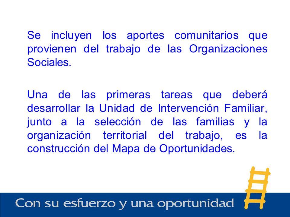 Se incluyen los aportes comunitarios que provienen del trabajo de las Organizaciones Sociales.