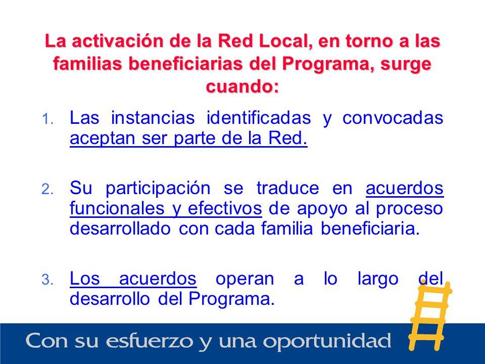 La activación de la Red Local, en torno a las familias beneficiarias del Programa, surge cuando: 1.