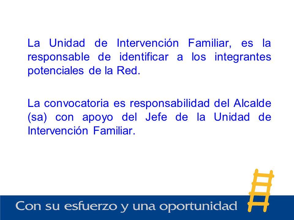 La Unidad de Intervención Familiar, es la responsable de identificar a los integrantes potenciales de la Red.