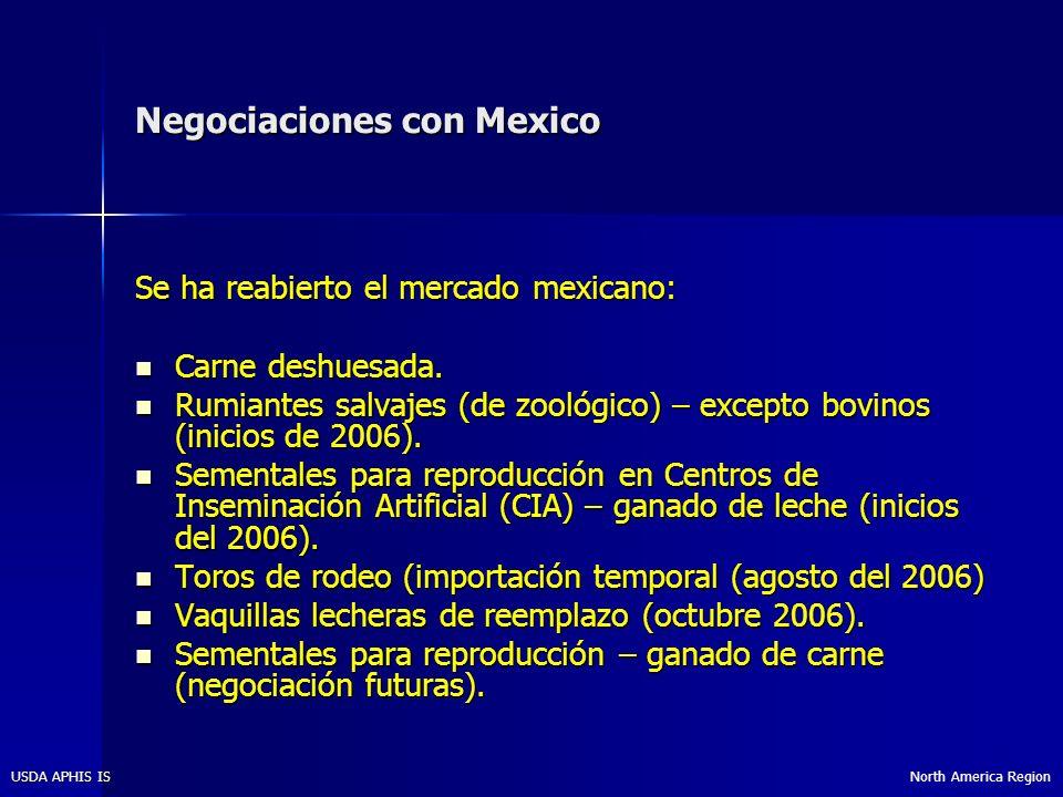 North America RegionUSDA APHIS IS Negociaciones con Mexico Se ha reabierto el mercado mexicano: Carne deshuesada.
