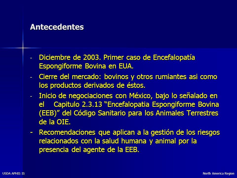 North America RegionUSDA APHIS IS Acciones efectuadas en EUA En abril del 2006, el USDA dió a conocer su anáisis de 7 años de los datos de vigilancia para la EEB.