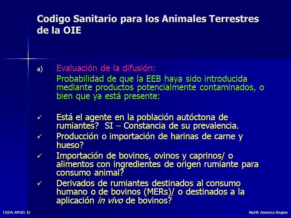 North America RegionUSDA APHIS IS Codigo Sanitario para los Animales Terrestres de la OIE b) Evaluación de la exposición: Si se identifica un factor de riesgo, se debe evaluar la probabilidad de que el ganado bovino este expuesto al agente de EEB.