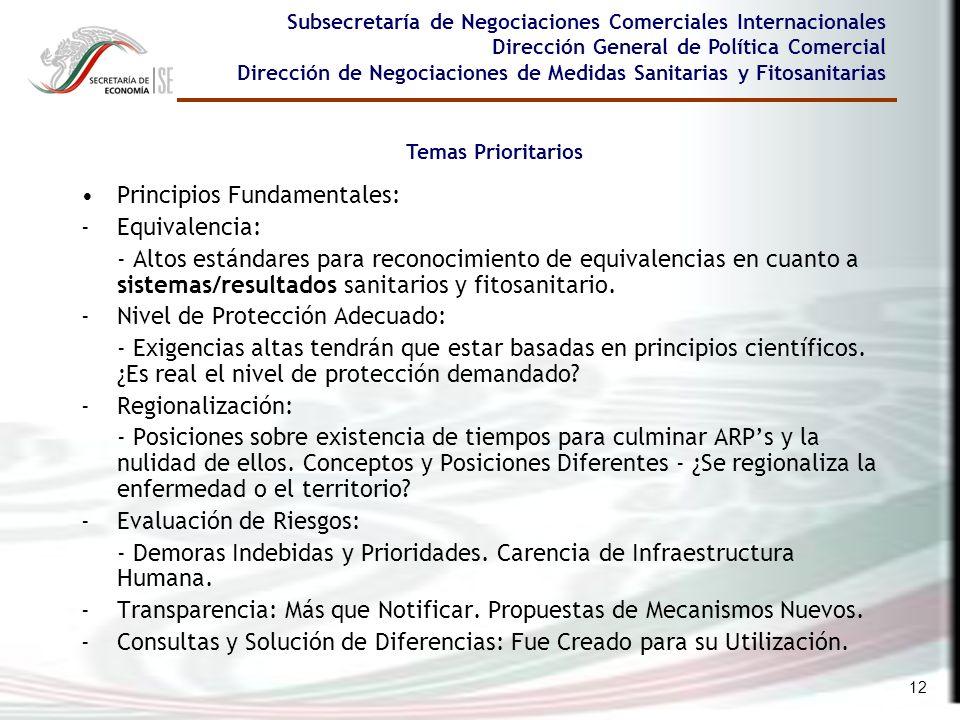 12 Subsecretaría de Negociaciones Comerciales Internacionales Dirección General de Política Comercial Dirección de Negociaciones de Medidas Sanitarias
