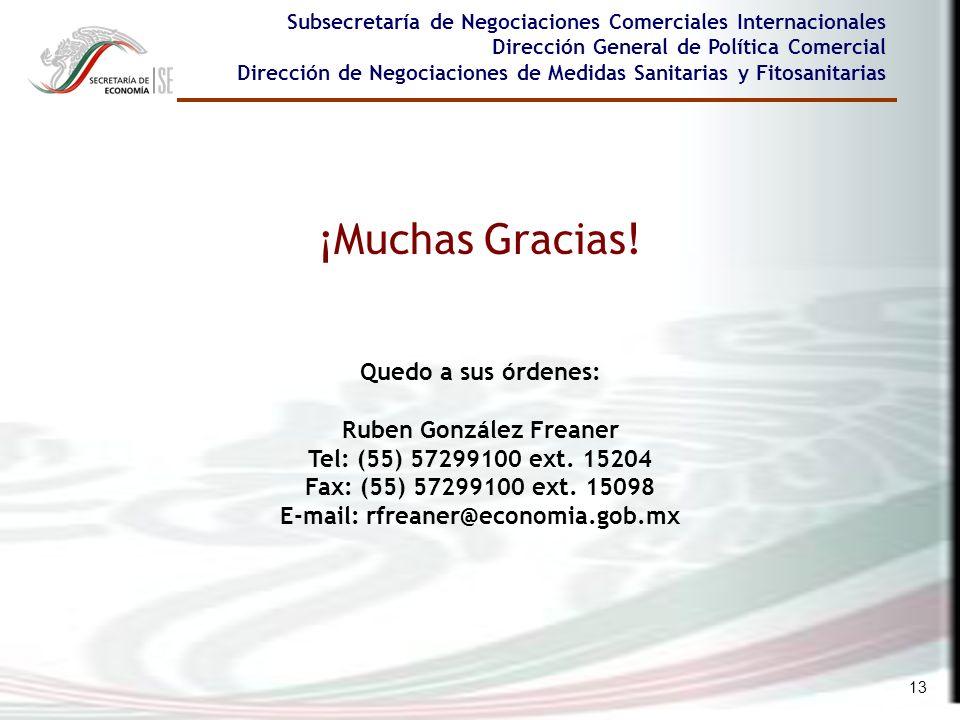 13 ¡Muchas Gracias! Subsecretaría de Negociaciones Comerciales Internacionales Dirección General de Política Comercial Dirección de Negociaciones de M