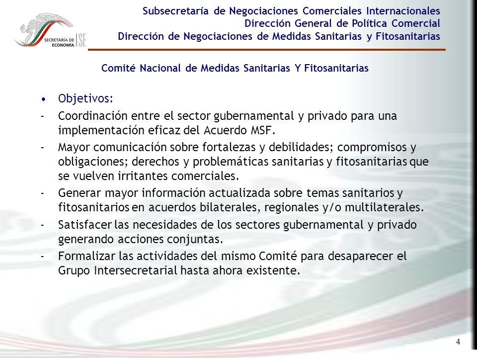 4 Subsecretaría de Negociaciones Comerciales Internacionales Dirección General de Política Comercial Dirección de Negociaciones de Medidas Sanitarias
