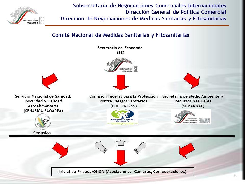 5 Subsecretaría de Negociaciones Comerciales Internacionales Dirección General de Política Comercial Dirección de Negociaciones de Medidas Sanitarias