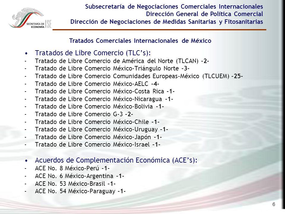 6 Tratados de Libre Comercio (TLCs): -Tratado de Libre Comercio de América del Norte (TLCAN) -2- -Tratado de Libre Comercio México-Triángulo Norte -3-