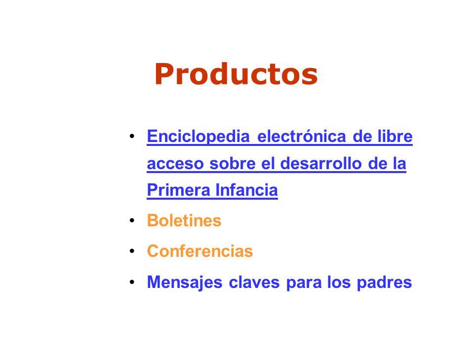 Productos Enciclopedia electrónica de libre acceso sobre el desarrollo de la Primera Infancia Boletines Conferencias Mensajes claves para los padres