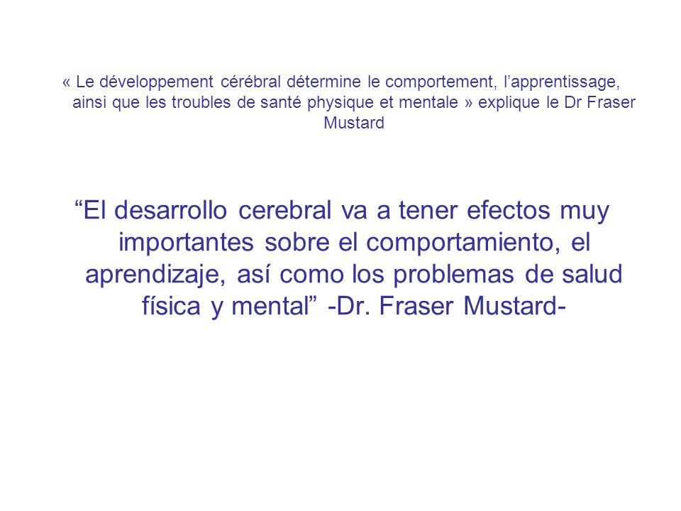 « Le développement cérébral détermine le comportement, lapprentissage, ainsi que les troubles de santé physique et mentale » explique le Dr Fraser Mustard El desarrollo cerebral va a tener efectos muy importantes sobre el comportamiento, el aprendizaje, así como los problemas de salud física y mental -Dr.