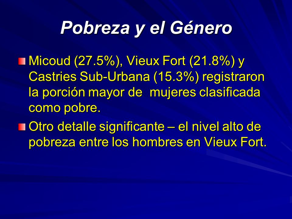 Pobreza y el Género Micoud (27.5%), Vieux Fort (21.8%) y Castries Sub-Urbana (15.3%) registraron la porción mayor de mujeres clasificada como pobre.