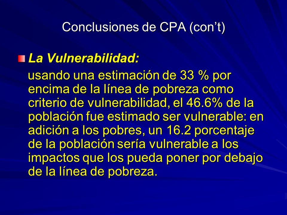 Conclusiones de CPA (cont) La Vulnerabilidad: usando una estimación de 33 % por encima de la línea de pobreza como criterio de vulnerabilidad, el 46.6% de la población fue estimado ser vulnerable: en adición a los pobres, un 16.2 porcentaje de la población sería vulnerable a los impactos que los pueda poner por debajo de la línea de pobreza.