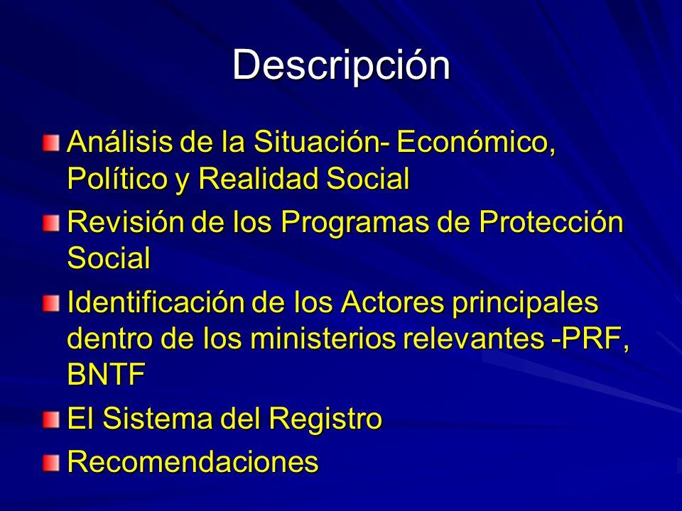 Descripción Análisis de la Situación- Económico, Político y Realidad Social Revisión de los Programas de Protección Social Identificación de los Actores principales dentro de los ministerios relevantes -PRF, BNTF El Sistema del Registro Recomendaciones