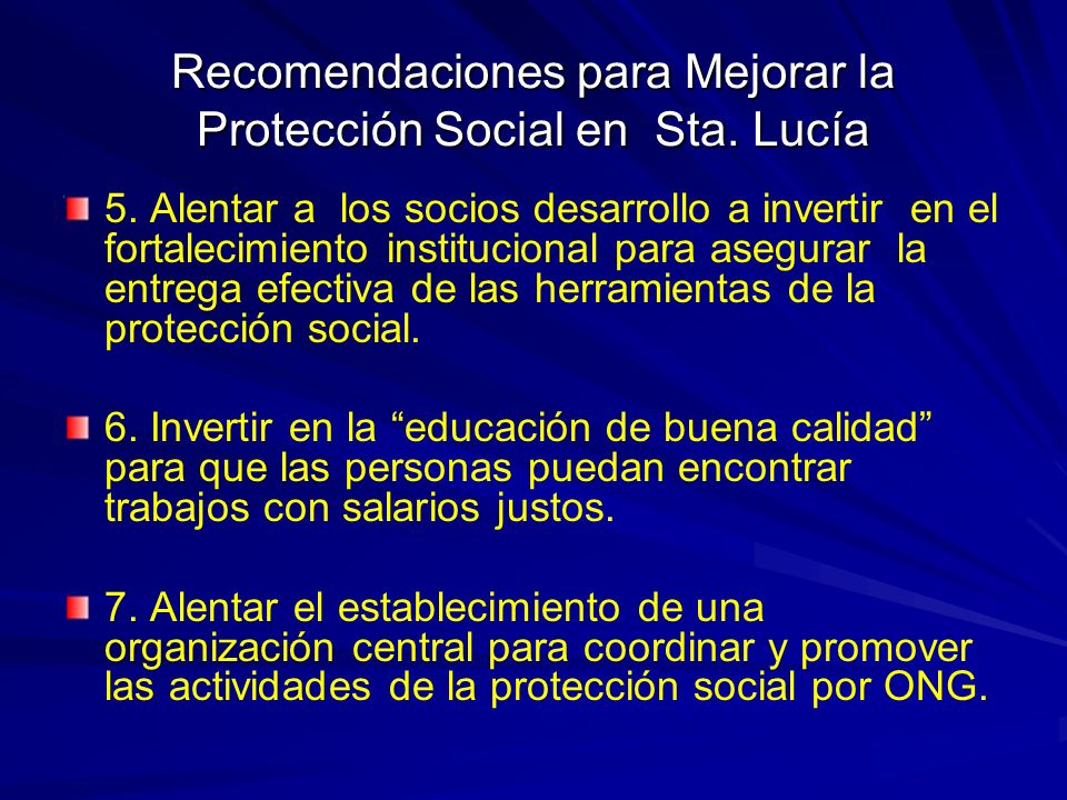 Recomendaciones para Mejorar la Protección Social en Sta.
