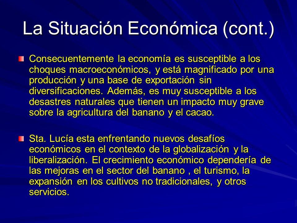 La Situación Económica (cont.) Consecuentemente la economía es susceptible a los choques macroeconómicos, y está magnificado por una producción y una base de exportación sin diversificaciones.
