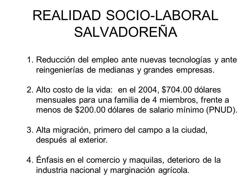 REALIDAD SOCIO-LABORAL SALVADOREÑA 1.Reducción del empleo ante nuevas tecnologías y ante reingenierías de medianas y grandes empresas.