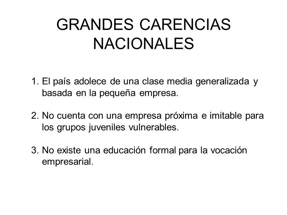 GRANDES CARENCIAS NACIONALES 1.El país adolece de una clase media generalizada y basada en la pequeña empresa.