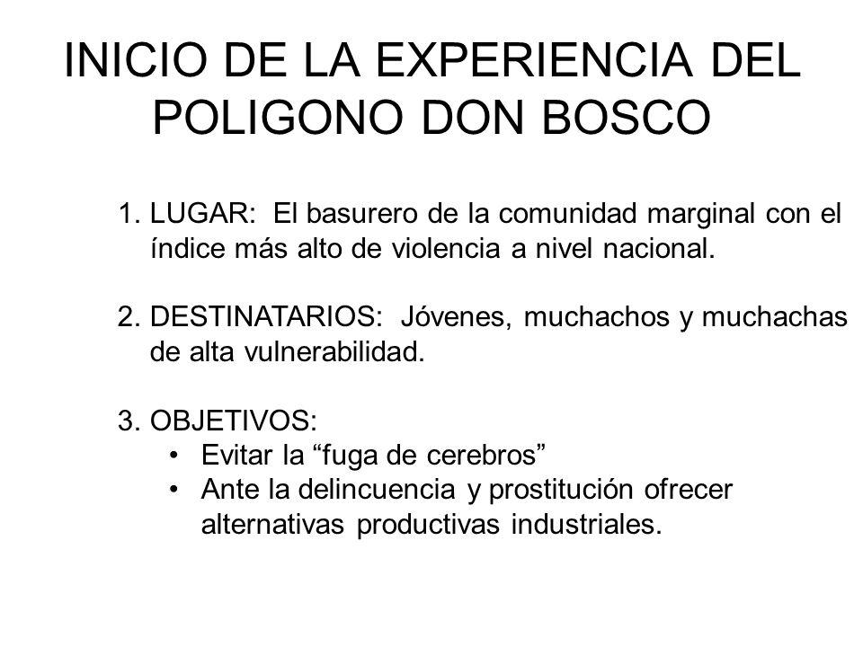 INICIO DE LA EXPERIENCIA DEL POLIGONO DON BOSCO 1.LUGAR: El basurero de la comunidad marginal con el índice más alto de violencia a nivel nacional.