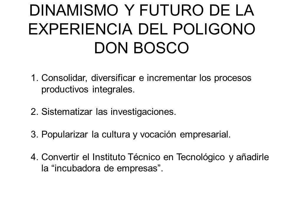 DINAMISMO Y FUTURO DE LA EXPERIENCIA DEL POLIGONO DON BOSCO 1.Consolidar, diversificar e incrementar los procesos productivos integrales.