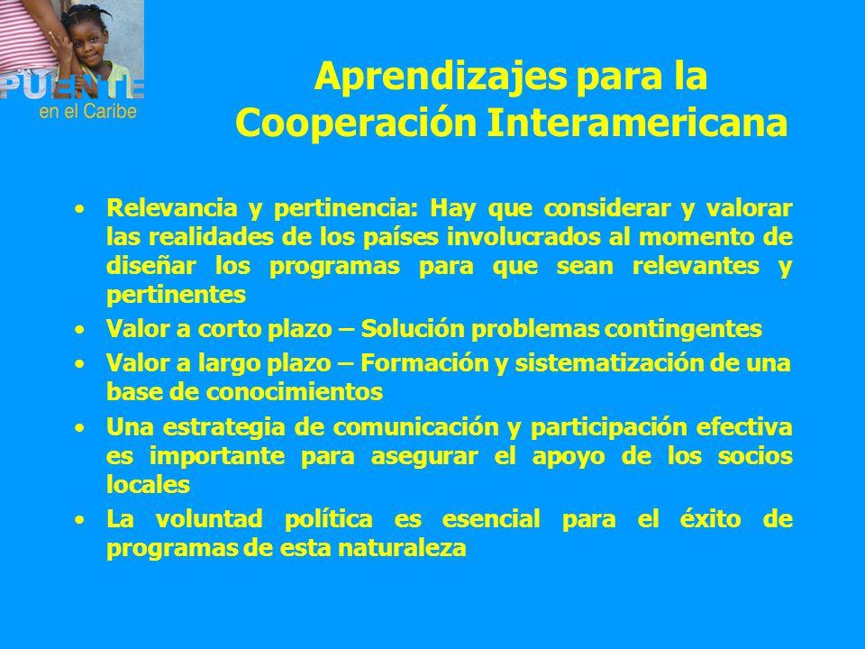 Aprendizajes para la Cooperación Interamericana Relevancia y pertinencia: Hay que considerar y valorar las realidades de los países involucrados al mo