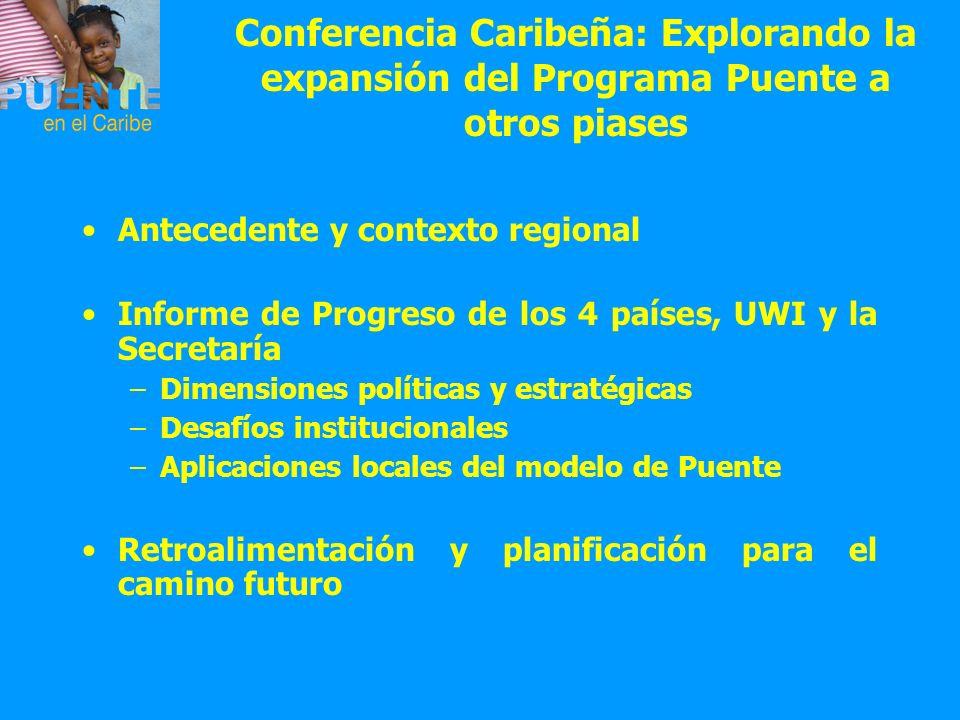 Conferencia Caribeña: Explorando la expansión del Programa Puente a otros piases Antecedente y contexto regional Informe de Progreso de los 4 países,