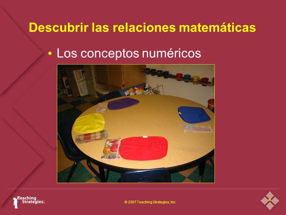 20 © 2007 Teaching Strategies, Inc. Descubrir las relaciones matemáticas Los conceptos numéricos