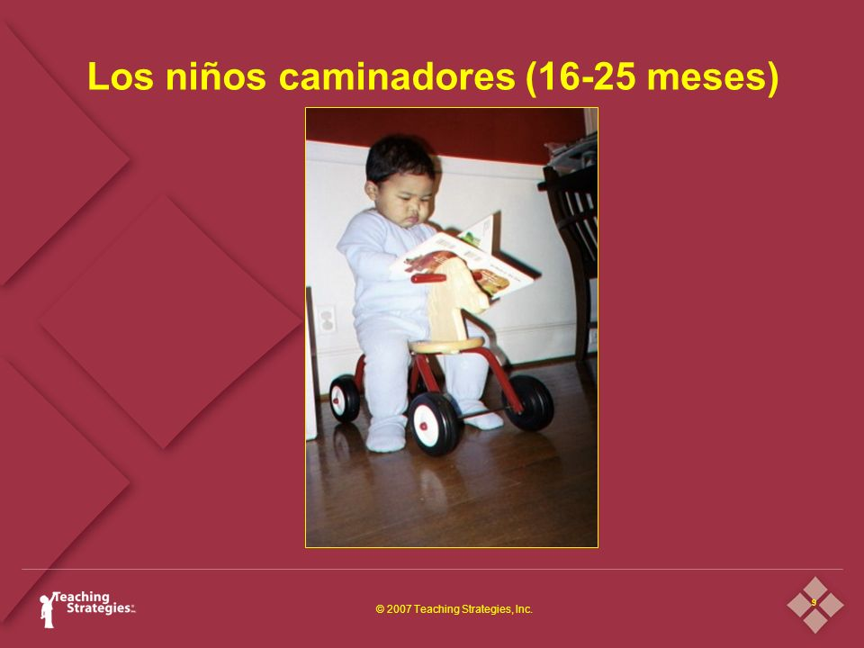 9 © 2007 Teaching Strategies, Inc. Los niños caminadores (16-25 meses)