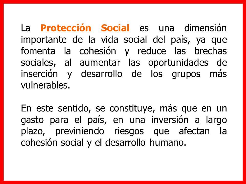 La Protección Social es una dimensión importante de la vida social del país, ya que fomenta la cohesión y reduce las brechas sociales, al aumentar las
