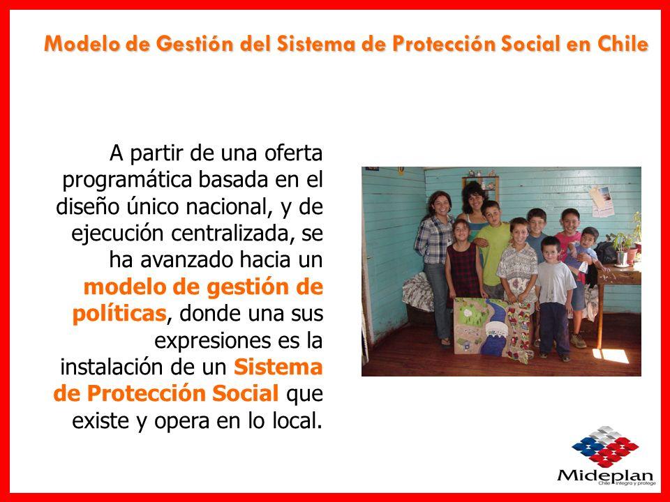 Modelo de Gestión del Sistema de Protección Social en Chile Se trata de un Sistema de Protección Social implementado de manera descentralizada, es decir, que existe y opera desde lo local.