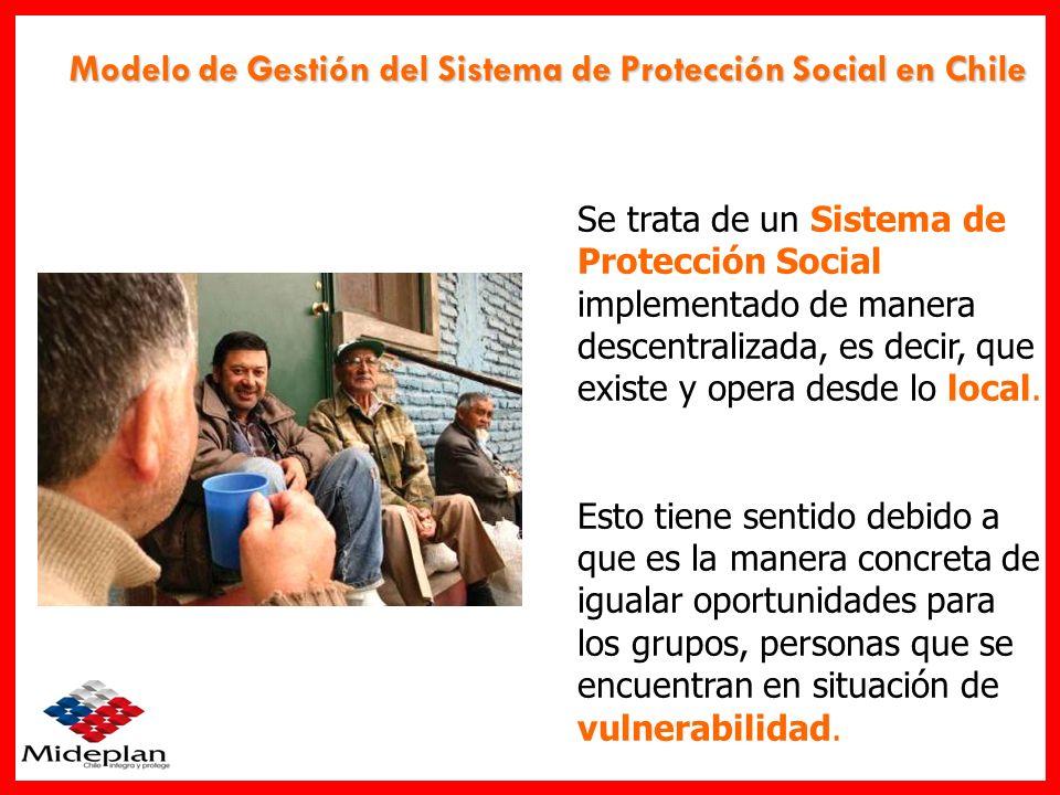 Modelo de Gestión del Sistema de Protección Social en Chile Se trata de un Sistema de Protección Social implementado de manera descentralizada, es dec