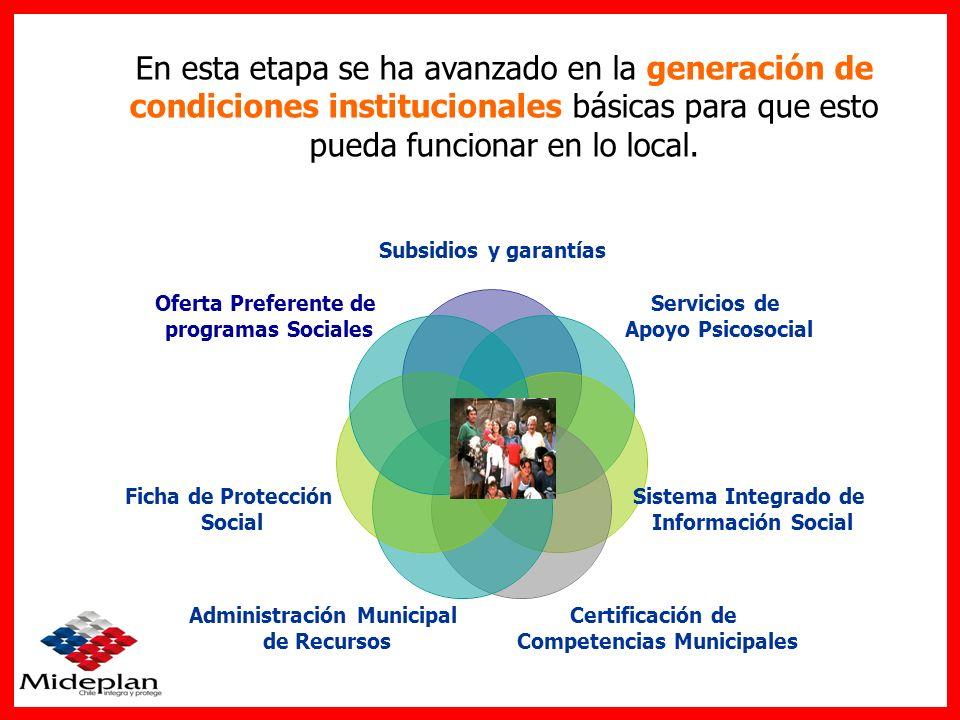 En esta etapa se ha avanzado en la generación de condiciones institucionales básicas para que esto pueda funcionar en lo local.