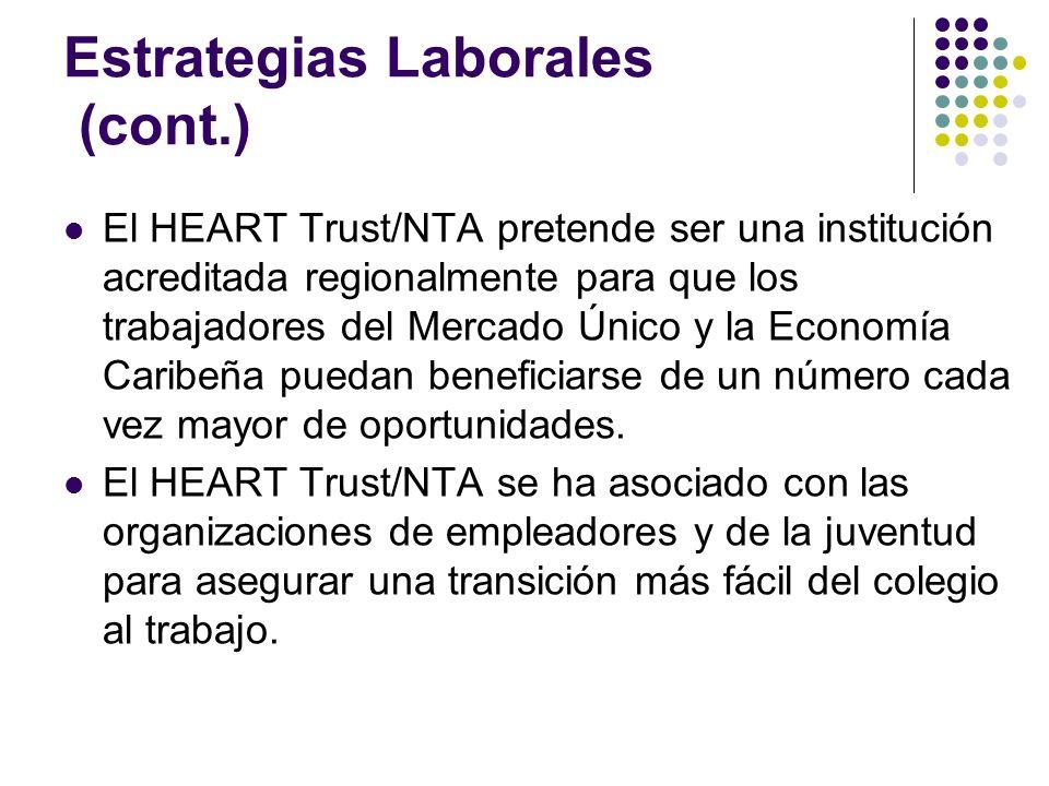Estrategias Laborales (cont.) El HEART Trust/NTA pretende ser una institución acreditada regionalmente para que los trabajadores del Mercado Único y la Economía Caribeña puedan beneficiarse de un número cada vez mayor de oportunidades.