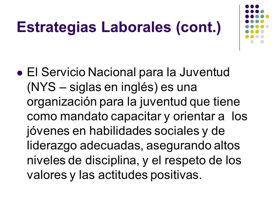 Estrategias Laborales (cont.) El Servicio Nacional para la Juventud (NYS – siglas en inglés) es una organización para la juventud que tiene como manda