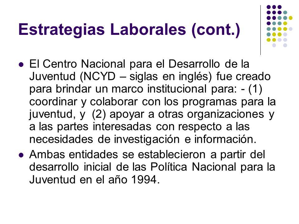Estrategias Laborales (cont.) El Centro Nacional para el Desarrollo de la Juventud (NCYD – siglas en inglés) fue creado para brindar un marco instituc