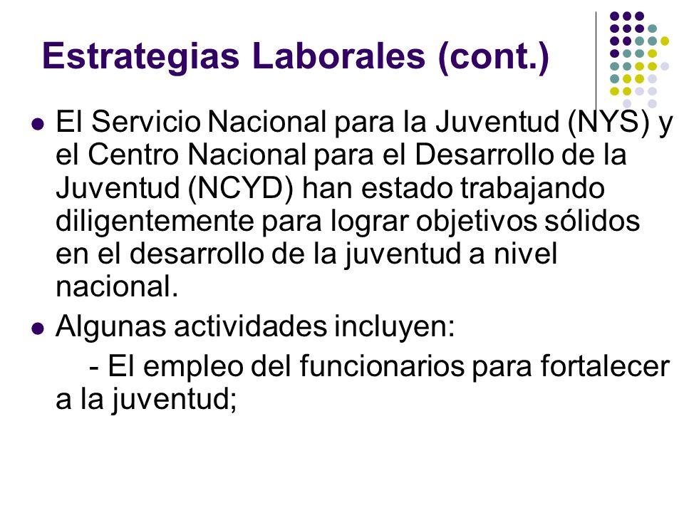 Estrategias Laborales (cont.) El Servicio Nacional para la Juventud (NYS) y el Centro Nacional para el Desarrollo de la Juventud (NCYD) han estado tra