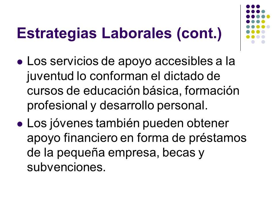 Estrategias Laborales (cont.) Los servicios de apoyo accesibles a la juventud lo conforman el dictado de cursos de educación básica, formación profesi
