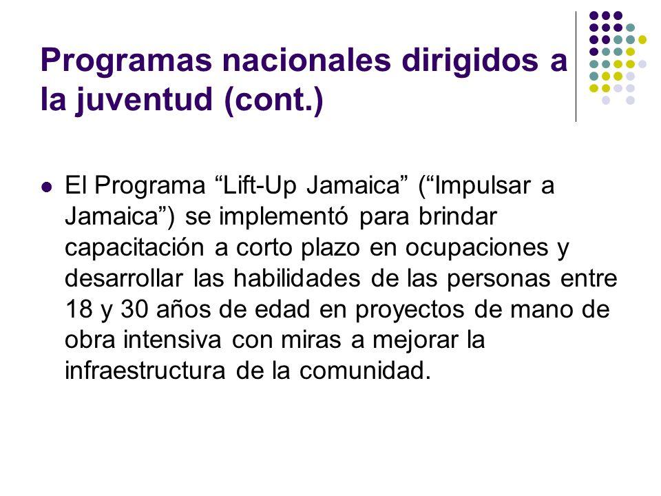 Programas nacionales dirigidos a la juventud (cont.) El Programa Lift-Up Jamaica (Impulsar a Jamaica) se implementó para brindar capacitación a corto plazo en ocupaciones y desarrollar las habilidades de las personas entre 18 y 30 años de edad en proyectos de mano de obra intensiva con miras a mejorar la infraestructura de la comunidad.