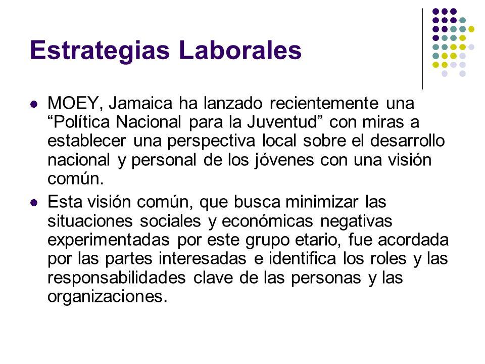 Estrategias Laborales (cont.) El empleo y el empresariado son elementos importantes de la Política y se enfocarán en ciertos objetivos alcanzables.