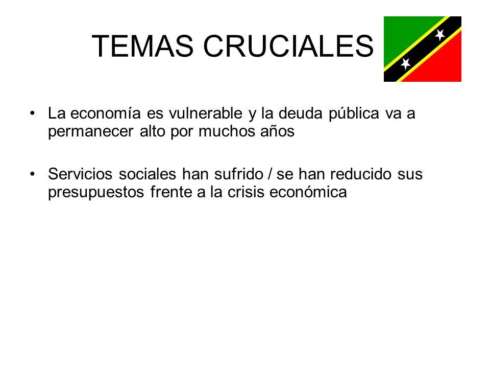 TEMAS CRUCIALES La economía es vulnerable y la deuda pública va a permanecer alto por muchos años Servicios sociales han sufrido / se han reducido sus presupuestos frente a la crisis económica