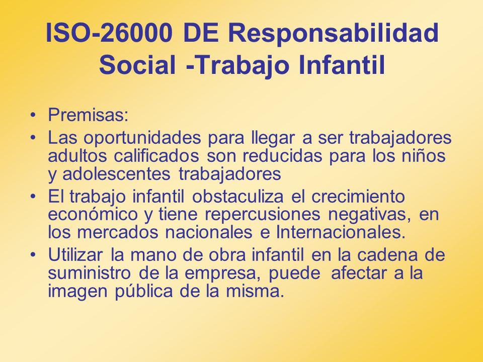 ISO-26000 DE Responsabilidad Social -Trabajo Infantil Premisas: Las oportunidades para llegar a ser trabajadores adultos calificados son reducidas par