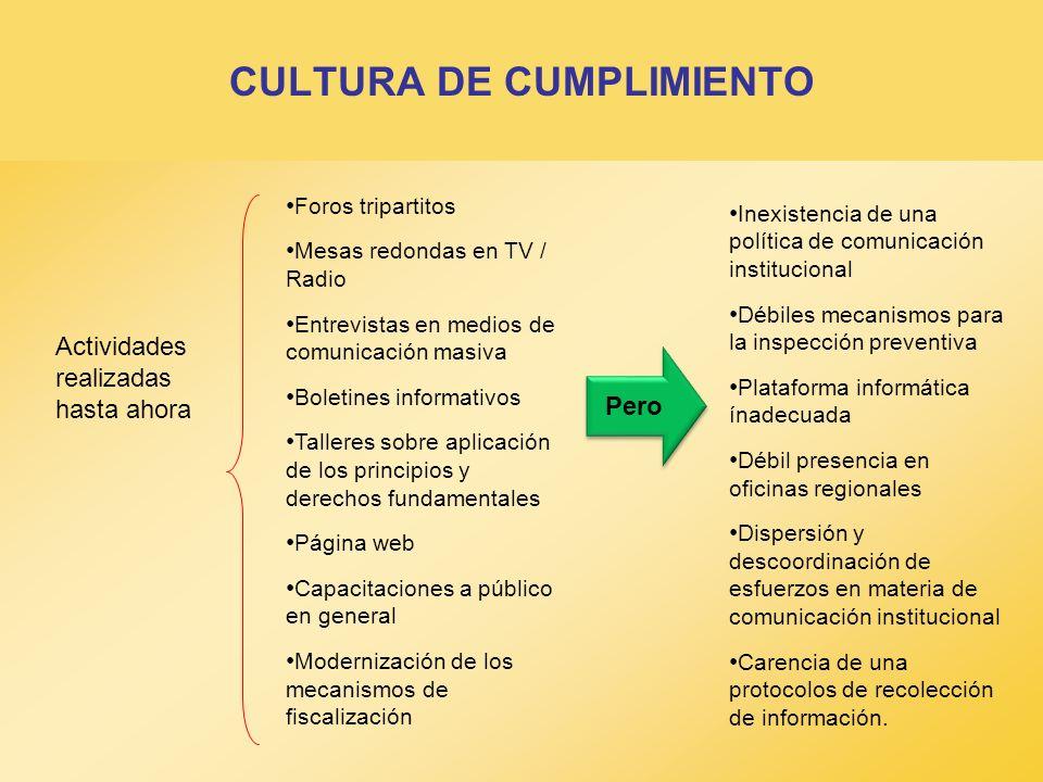 CULTURA DE CUMPLIMIENTO Foros tripartitos Mesas redondas en TV / Radio Entrevistas en medios de comunicación masiva Boletines informativos Talleres so