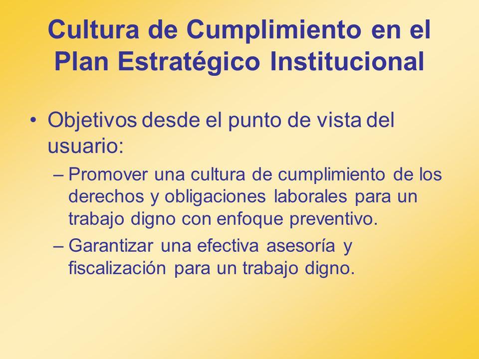Cultura de Cumplimiento en el Plan Estratégico Institucional Objetivos desde el punto de vista del usuario: –Promover una cultura de cumplimiento de l
