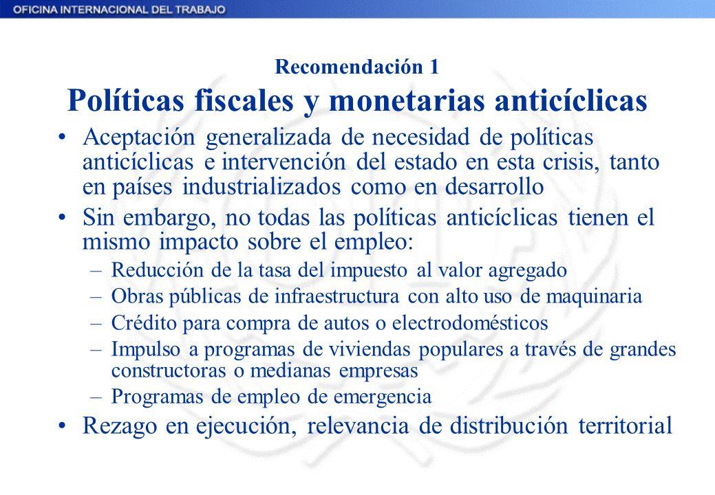 Recomendación 1 Políticas fiscales y monetarias anticíclicas Aceptación generalizada de necesidad de políticas anticíclicas e intervención del estado