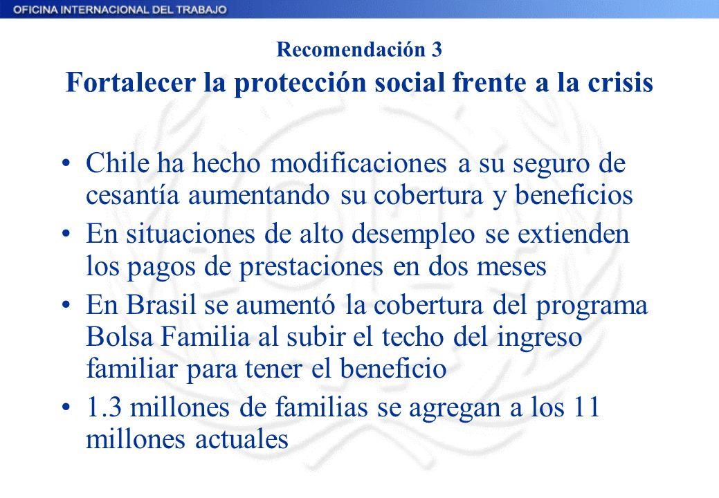 Recomendación 3 Fortalecer la protección social frente a la crisis Chile ha hecho modificaciones a su seguro de cesantía aumentando su cobertura y ben