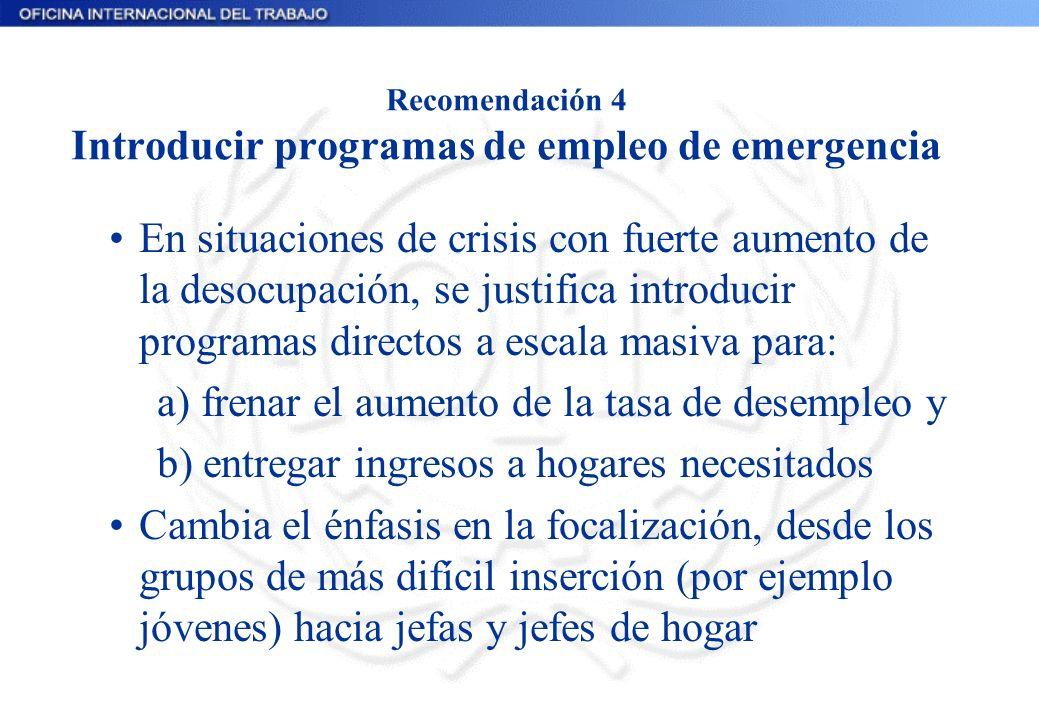 Recomendación 4 Introducir programas de empleo de emergencia En situaciones de crisis con fuerte aumento de la desocupación, se justifica introducir p