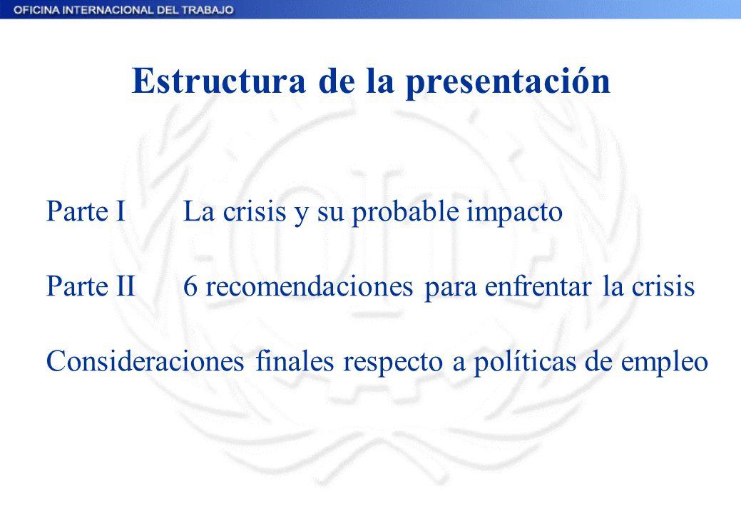 Estructura de la presentación Parte ILa crisis y su probable impacto Parte II6 recomendaciones para enfrentar la crisis Consideraciones finales respecto a políticas de empleo