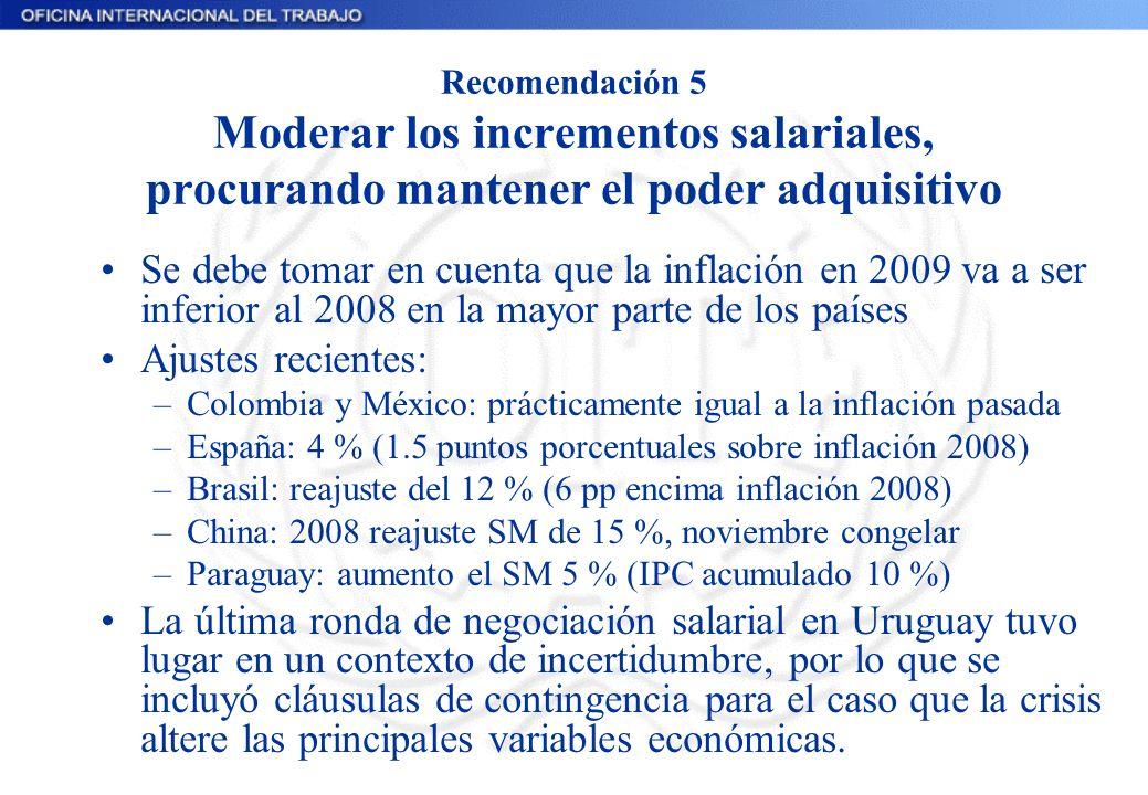 Recomendación 5 Moderar los incrementos salariales, procurando mantener el poder adquisitivo Se debe tomar en cuenta que la inflación en 2009 va a ser inferior al 2008 en la mayor parte de los países Ajustes recientes: –Colombia y México: prácticamente igual a la inflación pasada –España: 4 % (1.5 puntos porcentuales sobre inflación 2008) –Brasil: reajuste del 12 % (6 pp encima inflación 2008) –China: 2008 reajuste SM de 15 %, noviembre congelar –Paraguay: aumento el SM 5 % (IPC acumulado 10 %) La última ronda de negociación salarial en Uruguay tuvo lugar en un contexto de incertidumbre, por lo que se incluyó cláusulas de contingencia para el caso que la crisis altere las principales variables económicas.